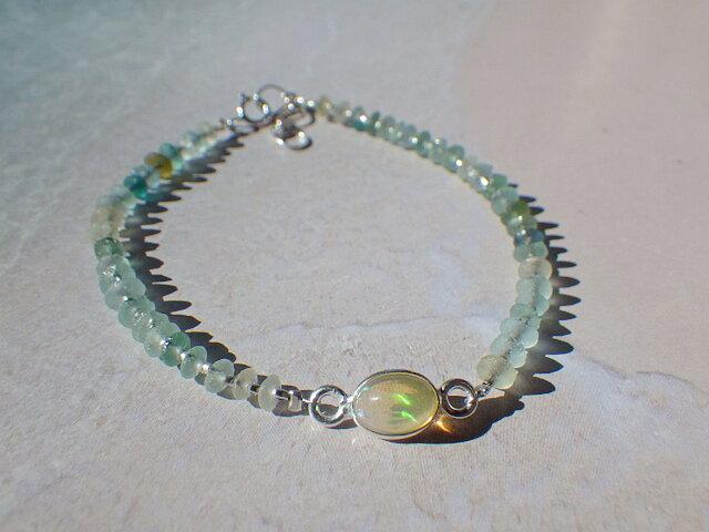 *sv925*Opal&Roman Glass Bracelet 幸運の石☆オパールの画像1枚目