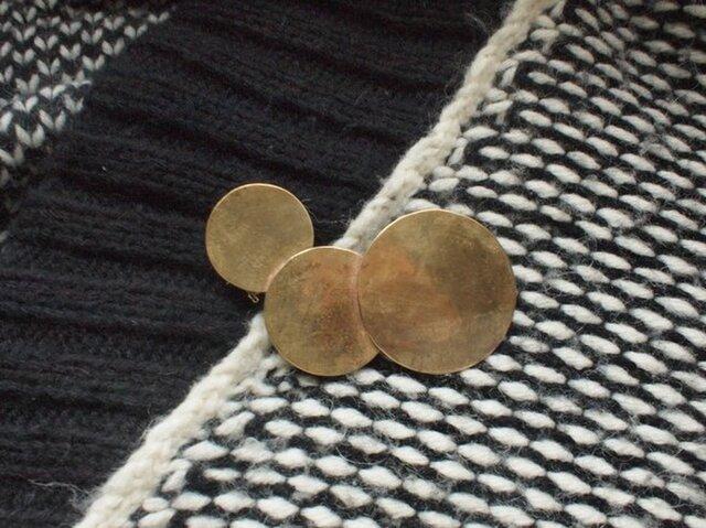 真鍮 トリプルお月様2way ブローチ・ネックレスの画像1枚目