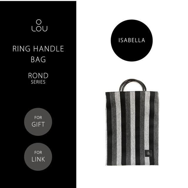 リングハンドルバッグ 黒×グレー ストライプ ●ROND-ISABELLA●の画像1枚目