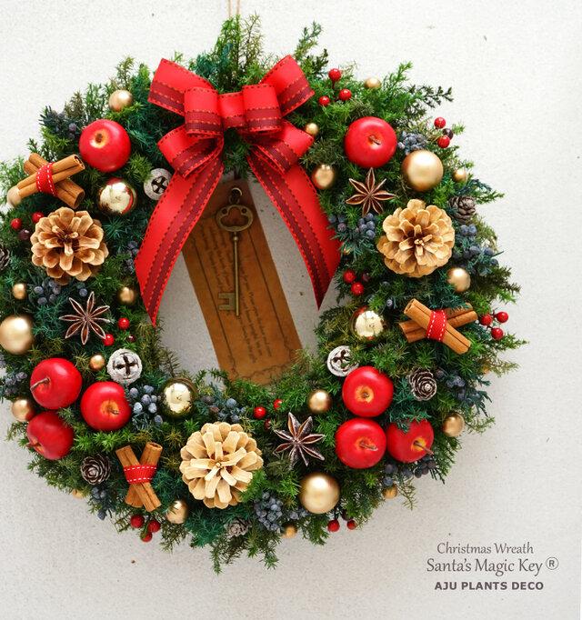 クリスマスリース(1719)~Santa's Magic Key(R)~ 34cmの画像1枚目