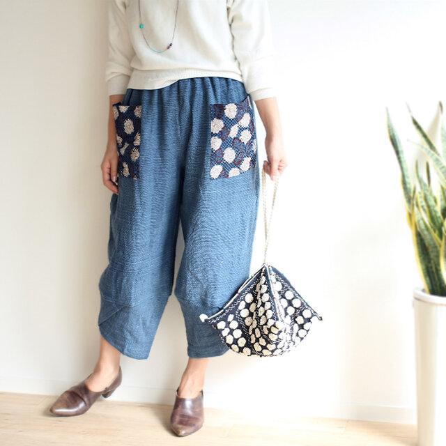 ブロックプリントポケットの手織り綿パンツ【インディゴブルー】の画像1枚目