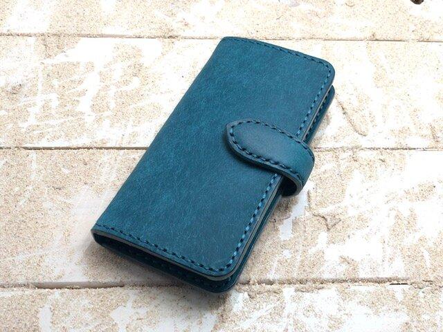 iPhone & android 手帳型 レザーケース プエブロ オルテンシア(ブルーグリーン) 糸 ブルーグリーン の画像1枚目
