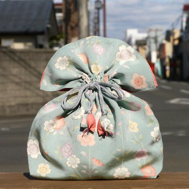 着物 巾着 桜文 幸せを呼ぶFUGURO 大サイズ の画像1枚目