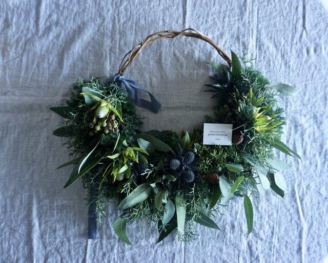 受注製作:蔓の枝見せクリスマスリースの画像1枚目