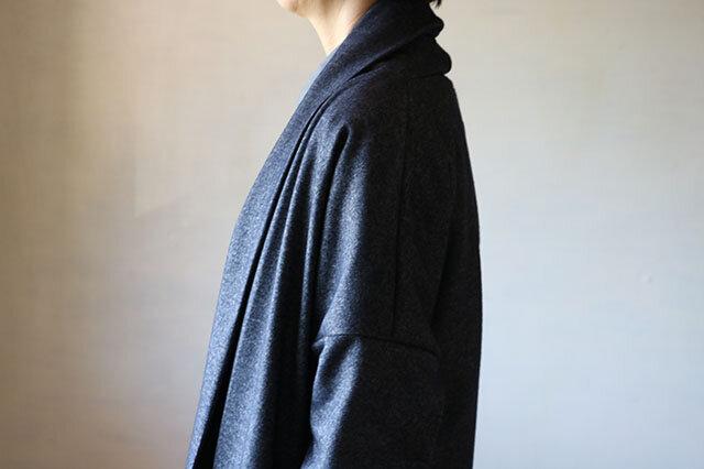 ショールニットコート:デニム風の画像1枚目
