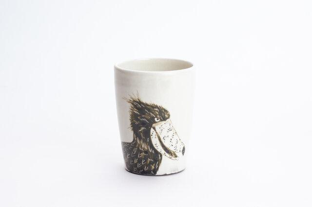 粉引フリーカップ(ハシビロコウ口開け)の画像1枚目