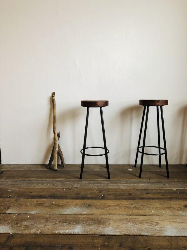 数量限定 WS-H740 椅子 イス ハイスツール アイアン チェアー 無垢材 カウンターチェアー スツール オーダーメイドの画像1枚目