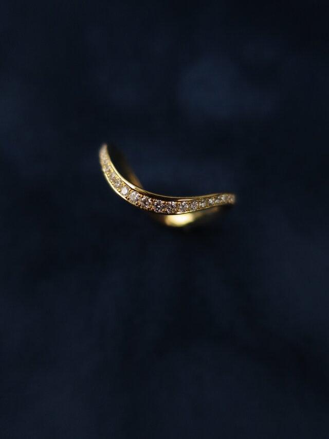 K18  『S』 Line Diamond Eternity Ringの画像1枚目