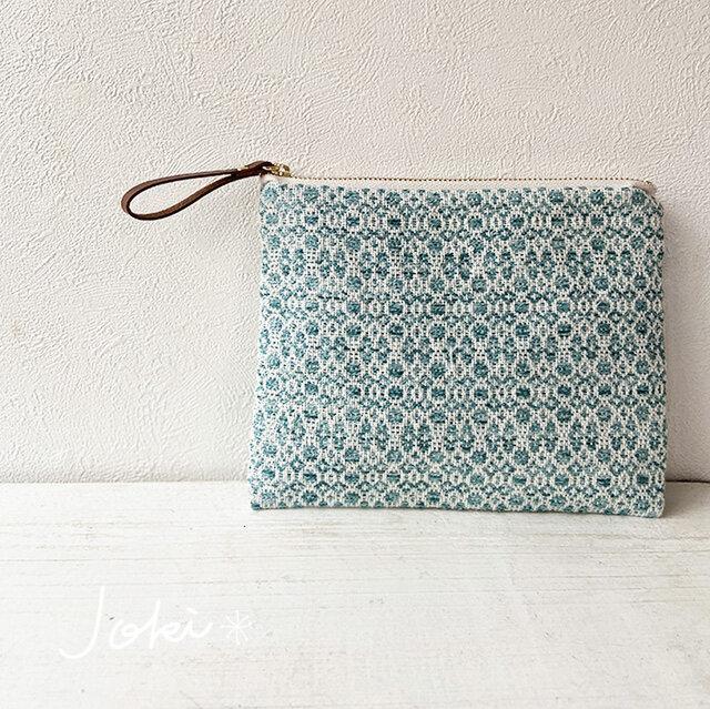 [再販]pouch[手織り小さめポーチ]エメラルドグリーンの画像1枚目