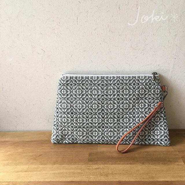 pouch[手織り台形ポーチ] フォレストグリーンの画像1枚目
