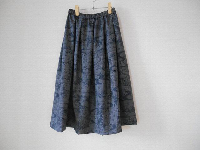 再販★大島紬リメイクスカートの画像1枚目