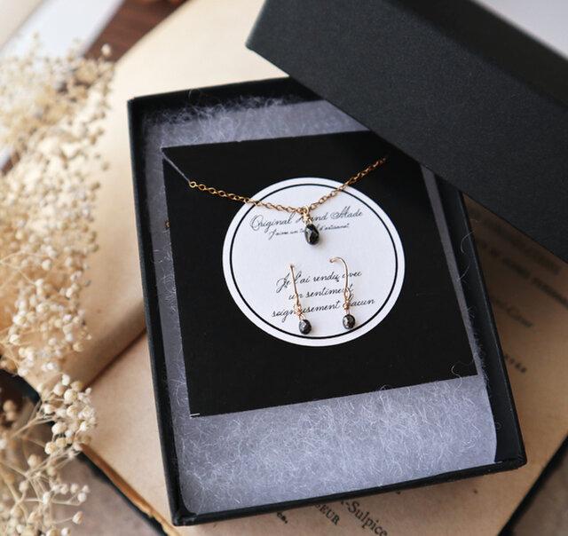 クリスマス限定【K18&14kgf】ブラックダイヤモンドの一粒ネックレス&ピアス(ブリオレットカット)の画像1枚目