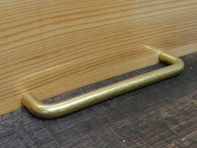 P-110㎜ 真鍮無垢 アンティーク Simple取っ手 / 引き出しや扉等に。ハンドル 家具 通販の画像1枚目
