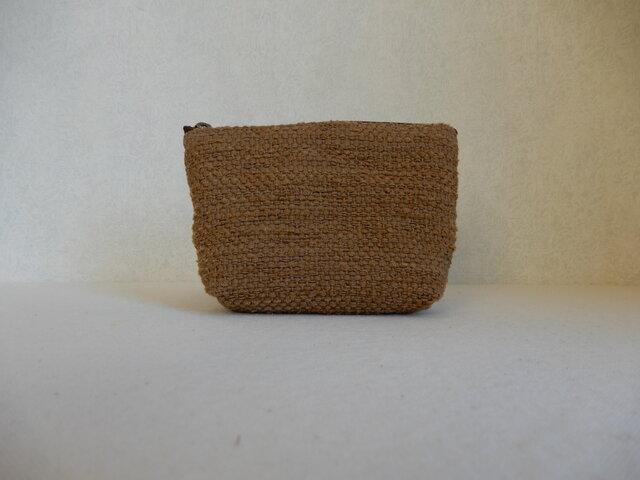裂き織りのキャンディポーチ 茶色の画像1枚目