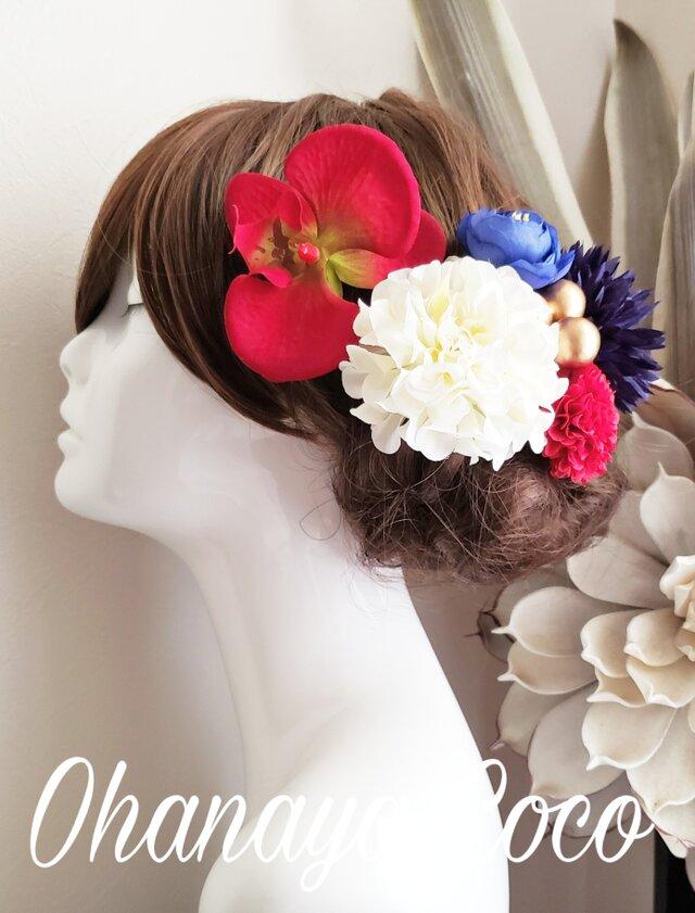 hirahira 真っ赤な胡蝶蘭と紺色マムの髪飾り6点Set No647の画像1枚目