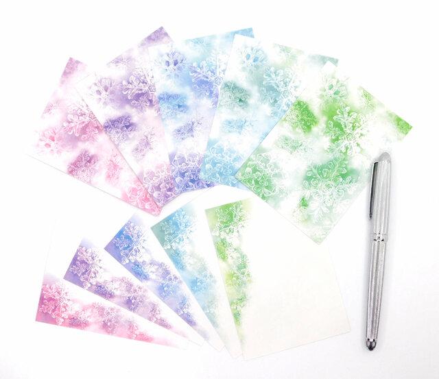 5色の雪の結晶 メモ 5種50枚の画像1枚目
