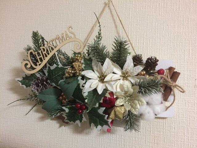 ホワイトポインセチアのクリスマスプレート Lの画像1枚目