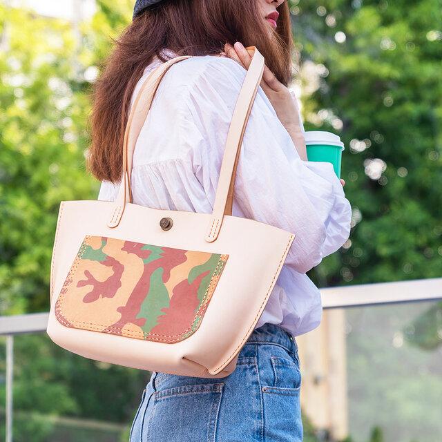 新作・迷彩 女子鞄 本革手作りの大容量トートバッグ_ショルダーバッグの画像1枚目