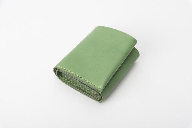 二つ折りミニ財布 牛革手作り小型収納オルガンL字ファスナー財布の画像1枚目