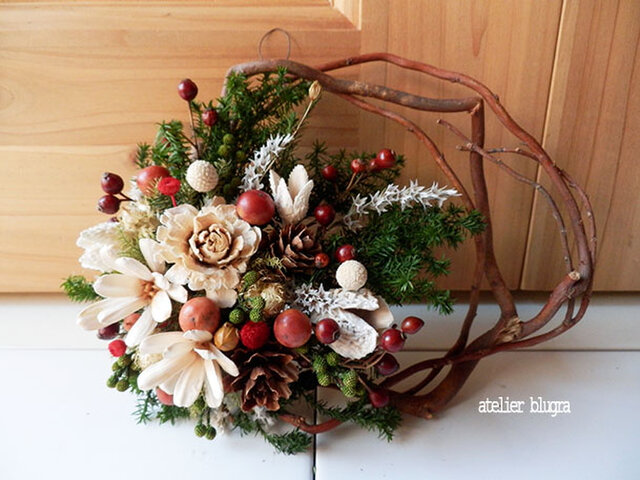 atelier blugra八ヶ岳〜柳小枝のWreath001の画像1枚目