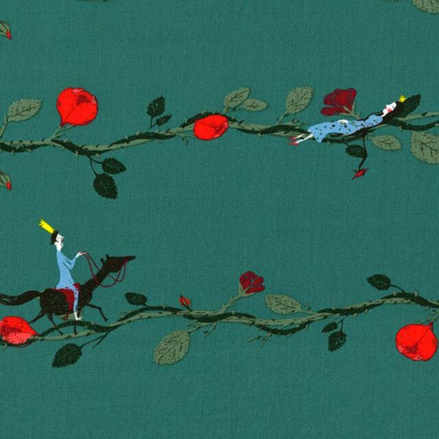 ドイツ オーガニックコットンカットクロス-眠り姫 ティールグリーンの画像1枚目