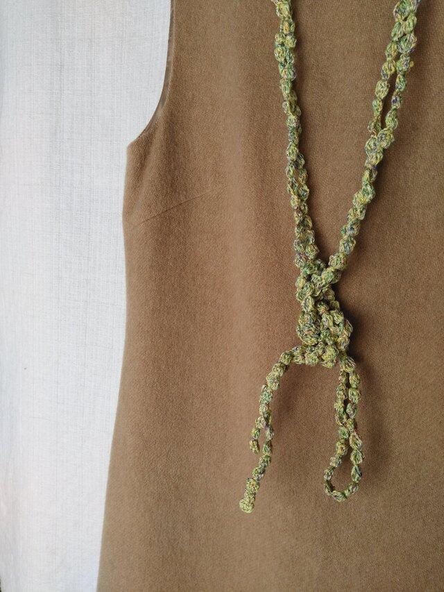 黄緑マルチカラー 大きい粒々ネックレスの画像1枚目