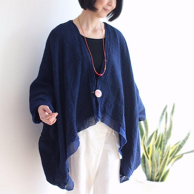 刺繍ブローチ付きインディゴ手織り綿カーディガンの画像1枚目