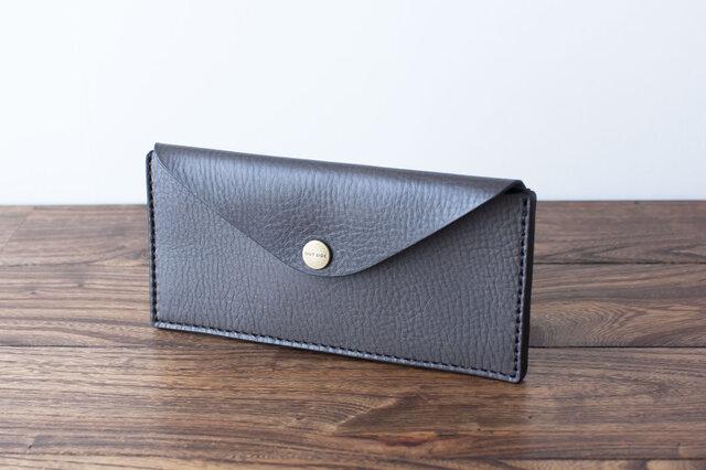 イタリア製牛革のスリムな長財布 2 / グレーの画像1枚目