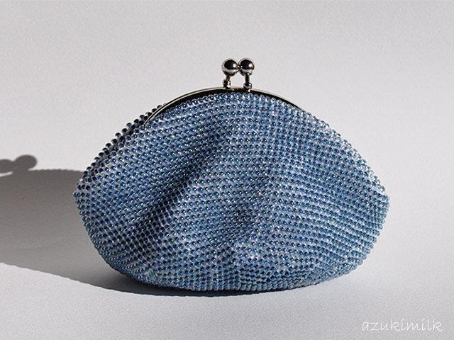 ビーズ編みがま口【ティールブルー】の画像1枚目