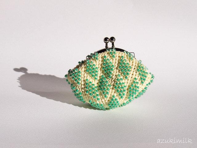 ビーズ編みがま口 模様編み【メロン】の画像1枚目