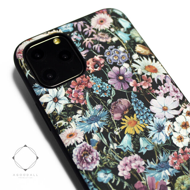 【iphone11/iphone11pro /11promax】レザーケースカバー(花柄×ブラック)ワイルドフラワーの画像1枚目