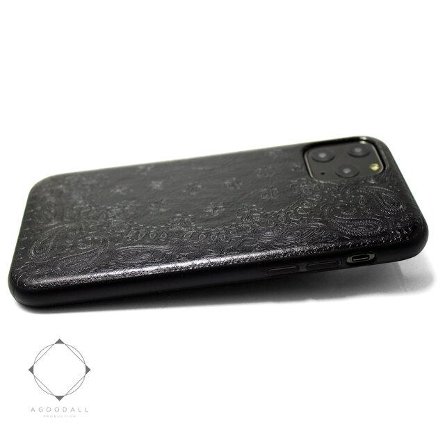 【iphone11/iphone11pro /11promax】特殊エンボス加工レザーケースカバー ペイズリー×ブラックの画像1枚目