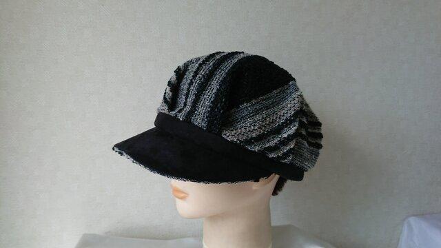 魅せる帽子☆ウールニットとスエードのバイカラーキャスケット~ボーダー&ブラックの画像1枚目