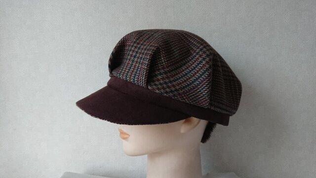 魅せる帽子☆ウールチェックとスエードのバイカラーキャスケット~ボーダー&ブラックの画像1枚目