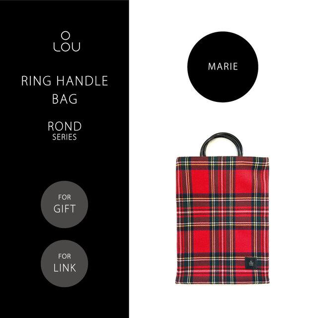 リングハンドルバッグ 赤×緑 タータンチェック ●ROND-MARIE●の画像1枚目