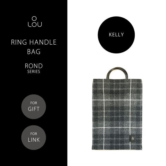 リングハンドルバッグ 赤×緑 タータンチェック ●ROND-KELLY●の画像1枚目