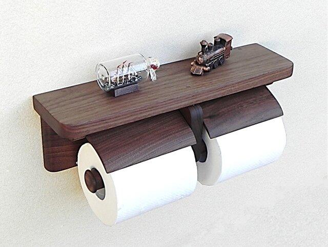 木製トイレットペーパーホルダーVer.13(ウォルナット無垢材)の画像1枚目