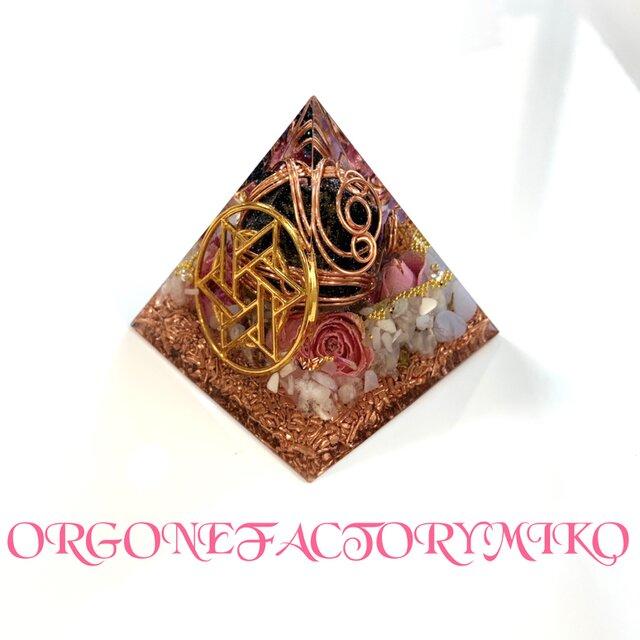 ホークスアイタンブル 六芒星 癒し 愛情 仕事運 幸運メモリーオイル入 ピラミッド オルゴナイトの画像1枚目