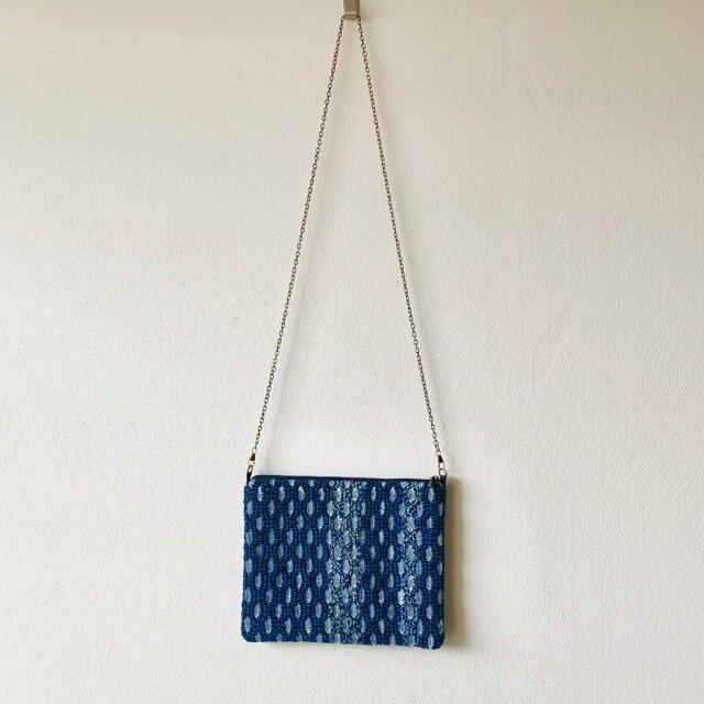 藍染め 手織りショルダーバッグ 裂き糸の画像1枚目