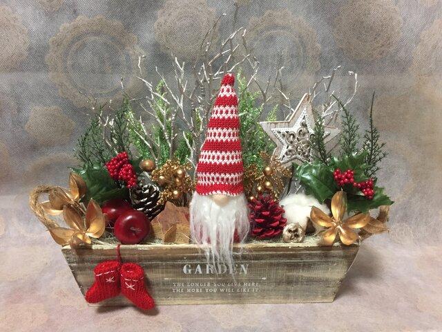再販 クリスマスウッドBOXアレンジ LLの画像1枚目