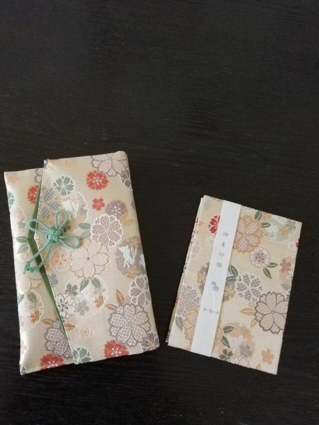 金襴 fu·ku·co.  御朱印帳&御朱印帳ケース set  袱紗兼用サイズ うさぎと桜緑の画像1枚目