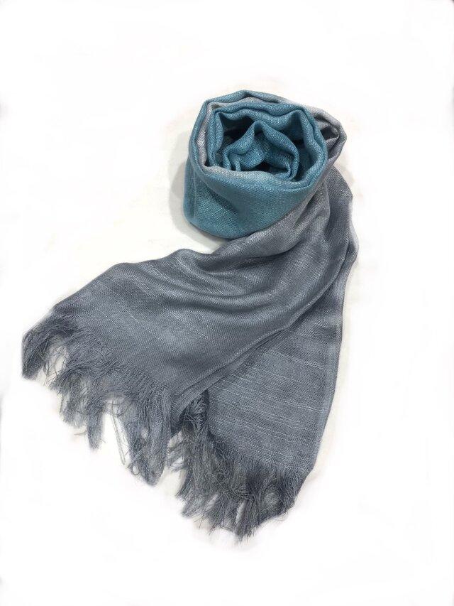 国産シルク100%手描き染めストール blue&grayの画像1枚目