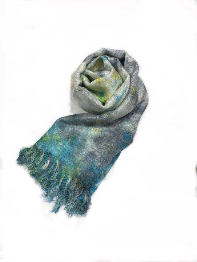 国産シルク100%手描き染めストール blue&gray&yellowの画像1枚目