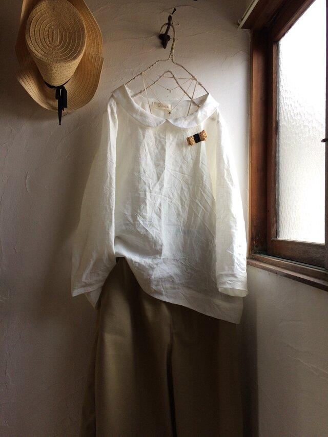 z様ご予約品 リネン丸襟ブラウス&胸ポケット付きブラウスの画像1枚目