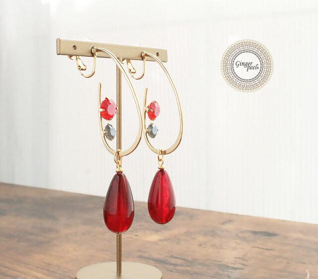 イヤリング[Drop hoop & bead/Red]の画像1枚目