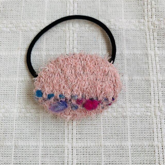 秋冬 手織り ヘアゴム 楕円・1の画像1枚目
