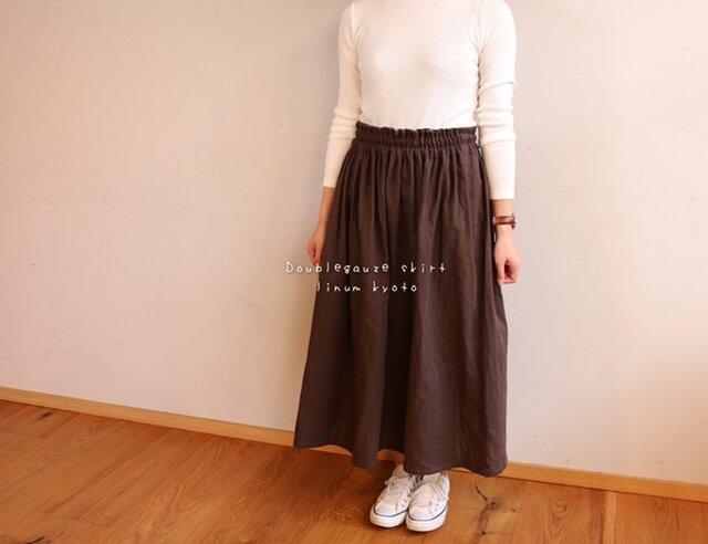 【フリーサイズ】ダブルガーゼで魅せる、ウエストゴムのふんわりギャザースカート(チョコブラウン)の画像1枚目