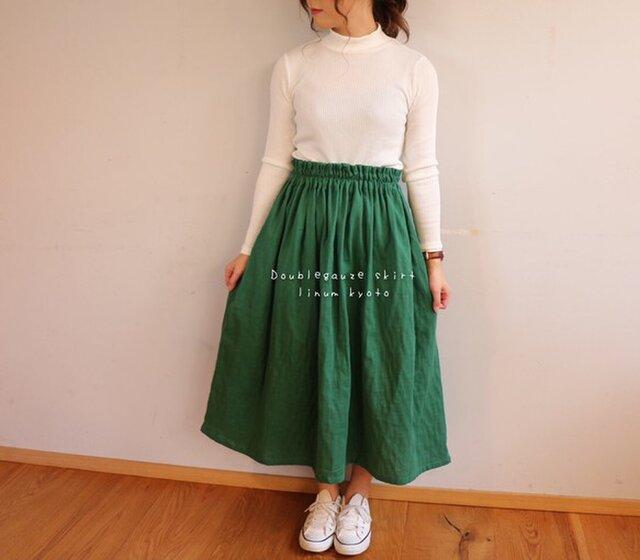 【フリーサイズ】ダブルガーゼで魅せる、ウエストゴムのふんわりギャザースカート(アイビー)の画像1枚目