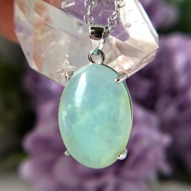 天然ブルーオパールシルバーロングネックレス8.13ct☆ ペルー産の原石から磨きました!の画像1枚目