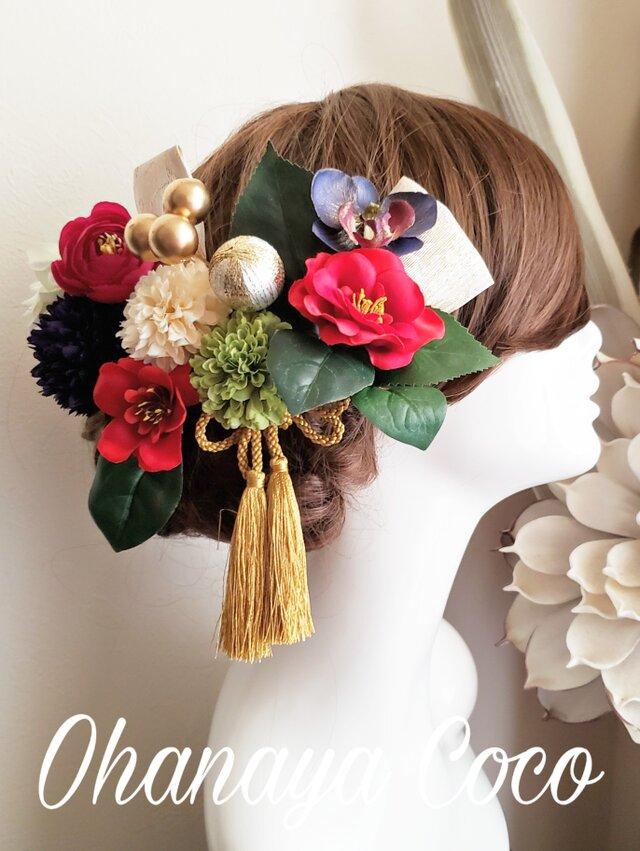 華雅 椿と銀杏リボンの髪飾り14点Set No652 成人式 結婚式 髪飾りの画像1枚目